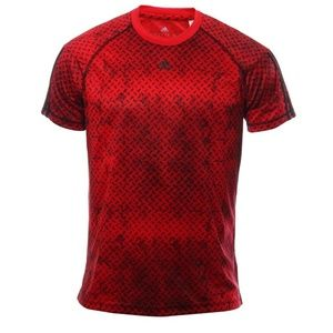 Adidas Climalite Shirt Red Distressed Steel Print